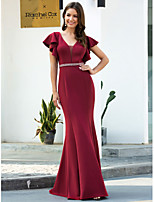 cheap -Mermaid / Trumpet Sexy Red Engagement Formal Evening Dress V Neck Short Sleeve Floor Length Polyester with Sash / Ribbon 2020