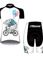 Недорогие -21Grams Жен. С короткими рукавами Велокофты и велошорты Черный / Белый Животное Воздушные шары Медведи Велоспорт Наборы одежды / Слабоэластичная / Быстровысыхающий / Дышащий / Горные велосипеды