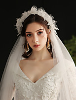 cheap -Two-tier Lace / Sweet Wedding Veil Elbow Veils with Appliques / Solid Tulle