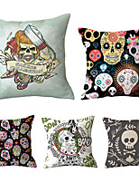cheap -5 pcs Polyester Pillow Cover, Geometric Skull Simple Chic & Modern Square Traditional Classic