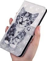 Недорогие -Кейс для Назначение SSamsung Galaxy A5(2018) / A6 (2018) / A6+ (2018) Кошелек / Бумажник для карт / со стендом Чехол Кот Кожа PU