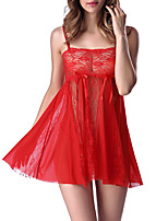 cheap -Women's Lace / Cut Out / Bow Suits Nightwear Solid Colored Purple Red Blue S M L