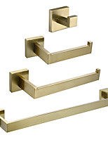 cheap -4-Piece Bathroom Accessory Set 304 Stainless Steel Including 22-Inch Towel Bar,10-Inch Towel Bar,Toilet Paper Holder,Towel Robe Hook,Wall Mounted Solid Brass Base,Brushed Gold