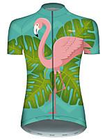 Недорогие -21Grams Жен. С короткими рукавами Велокофты Розовый + зеленый Фламинго Животное Цветочные ботанический Велоспорт Джерси Верхняя часть Горные велосипеды Шоссейные велосипеды / Эластичная / Дышащий