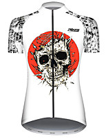 cheap -21Grams Women's Short Sleeve Cycling Jersey Black / White Novelty Skull Bike Jersey Top Mountain Bike MTB Road Bike Cycling UV Resistant Breathable Quick Dry Sports Clothing Apparel / Stretchy