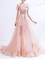 cheap -A-Line Luxurious Pink Engagement Formal Evening Dress Off Shoulder Sleeveless Court Train Polyester with Sequin Embroidery 2020