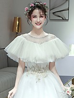 cheap -Short Sleeve Capes Tulle Wedding Shawl & Wrap With Lace