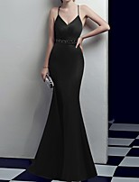 cheap -Mermaid / Trumpet Reformation Amante Minimalist Wedding Guest Formal Evening Dress Spaghetti Strap Sleeveless Sweep / Brush Train Polyester with Sash / Ribbon Split 2020