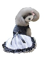 cheap -Dog Dress Dog Clothes Black Costume Husky Golden Retriever Dalmatian Cotton Polka Dot Voiles & Sheers Bowknot Stylish Sweet Style XS S M XL XXL