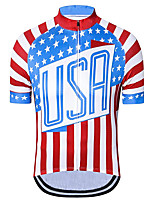 cheap -21Grams Men's Short Sleeve Cycling Jersey Red+Blue American / USA Stars National Flag Bike Jersey Top Mountain Bike MTB Road Bike Cycling UV Resistant Breathable Quick Dry Sports Clothing Apparel