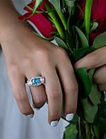 Недорогие -10 карат Синтетический алмаз Кольцо Серебристый Назначение Жен. Вырезать подушку Дамы Роскошь Элегантный стиль Свадьба Свадьба Вечерние Официальные Высокое качество вымостить