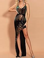 Недорогие -блесток сплит оболочка колонны блеск рукавов v шеи длиной до пола спандекс вечернее платье выпускного вечера