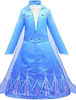 Недорогие -Дети Девочки Классический Симпатичные Стиль В снежинку Halloween Сетка Кулиска Без рукавов До колена Платье Синий