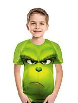 Недорогие -Дети Мальчики Активный Уличный стиль Геометрический принт Контрастных цветов 3D С короткими рукавами Футболка Зеленый