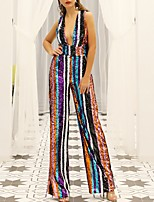 cheap -Jumpsuits Beautiful Back Sexy Prom Formal Evening Dress V Neck Sleeveless Floor Length Polyester with Sequin 2020