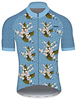 cheap -21Grams Men's Short Sleeve Cycling Jersey Blue Floral Botanical Bike Jersey Top Mountain Bike MTB Road Bike Cycling UV Resistant Breathable Quick Dry Sports Clothing Apparel / Stretchy