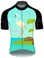 cheap -21Grams Men's Short Sleeve Cycling Jersey Green / Black Flamingo Animal Floral Botanical Bike Jersey Top Mountain Bike MTB Road Bike Cycling UV Resistant Breathable Quick Dry Sports Clothing Apparel