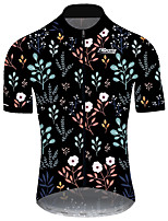 cheap -21Grams Men's Short Sleeve Cycling Jersey Black / Red Floral Botanical Bike Jersey Top Mountain Bike MTB Road Bike Cycling UV Resistant Breathable Quick Dry Sports Clothing Apparel / Stretchy