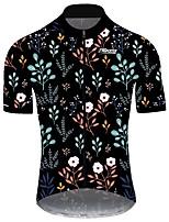 Недорогие -21Grams Муж. С короткими рукавами Велокофты Черный / красный Цветочные ботанический Велоспорт Джерси Верхняя часть Горные велосипеды Шоссейные велосипеды Устойчивость к УФ Дышащий Быстровысыхающий