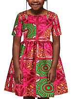 cheap -Kids Girls' Basic Cute Geometric Color Block Tribal Print Short Sleeve Above Knee Dress Red