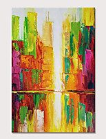 cheap -Mintura Hand Painted Abstract City Building Oil Paintings on Canvas Modern Wall Picture Pop Art Posters For Home Decoration Ready To Hang