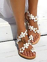 cheap -Women's Sandals Boho / Beach Flat Sandals Summer Flat Heel Open Toe Daily PU Brown