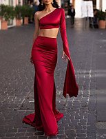 cheap -Two Piece Minimalist Red Party Wear Formal Evening Dress One Shoulder Long Sleeve Sweep / Brush Train Satin with Sleek 2020