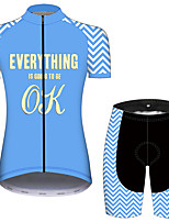 cheap -21Grams Women's Short Sleeve Cycling Jersey with Shorts Black / Blue Stripes Novelty Bike Clothing Suit Breathable Quick Dry Ultraviolet Resistant Sweat-wicking Sports Solid Color Mountain Bike MTB