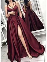 cheap -A-Line Minimalist Red Party Wear Prom Dress Halter Neck Sleeveless Sweep / Brush Train Satin with Pleats Split 2020