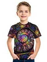 Недорогие -Дети Мальчики Активный Уличный стиль 3D С принтом С короткими рукавами Футболка Цвет радуги