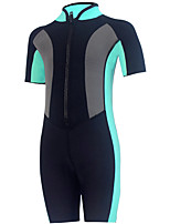 cheap -HISEA® Boys' Girls' Shorty Wetsuit 2.5mm SCR Neoprene Diving Suit Half Sleeve Front Zip Patchwork Autumn / Fall Spring Summer / Winter / Stretchy / Kids