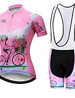 Недорогие -21Grams Жен. С короткими рукавами Велокофты и велошорты-комбинезоны Розовый / черный Цветочные ботанический Велоспорт Наборы одежды Дышащий 3D / Слабоэластичная / Быстровысыхающий / Горные велосипеды