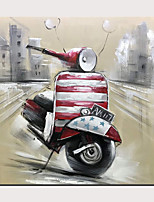 cheap -Red Motorcycle Hand Painted on Canvas Street Scene Oil Painting  Modern Artwork for Home Decor with Frame Ready to Hang