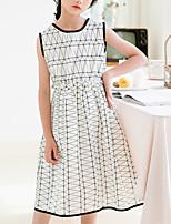 Недорогие -Дети Девочки Классический Изысканный Геометрический принт Без рукавов Средней длины Платье Белый