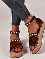 cheap -Women's Sandals Flat Sandal Summer Flat Heel Round Toe Daily Canvas Black / Yellow / Brown