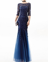 cheap -Mermaid / Trumpet Floral Blue Engagement Formal Evening Dress Jewel Neck Half Sleeve Floor Length Polyester with Pleats Appliques 2020