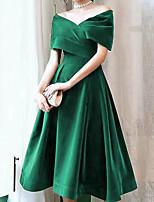 cheap -A-Line Elegant Vintage Homecoming Cocktail Party Dress Off Shoulder Short Sleeve Knee Length Velvet with Pleats 2020