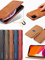 cheap -Case For Apple iPhone 11 / iPhone 11 Pro / iPhone 11 Pro Max Card Holder / Flip Full Body Cases Solid Colored PU Leather / PC