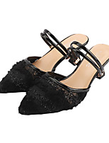 cheap -Women's Sandals Chunky Heel Pointed Toe Lace / Mesh Sexy Summer Black / Beige
