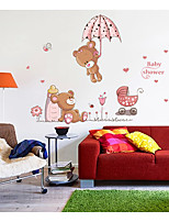 cheap -Cute two bears Umbrella home background decoration removable sticker 50*70CM