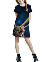 Недорогие -Дети Девочки Классический Симпатичные Стиль Однотонный Мультипликация Пэчворк С принтом С короткими рукавами Выше колена Платье Черный