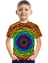 cheap -Kids Boys' Active Street chic Color Block 3D Print Short Sleeve Tee Rainbow