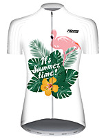 cheap -21Grams Women's Short Sleeve Cycling Jersey Red and White Flamingo Animal Floral Botanical Bike Jersey Top Mountain Bike MTB Road Bike Cycling UV Resistant Breathable Quick Dry Sports Clothing Apparel