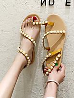 cheap -Women's Sandals Flat Sandal 2020 Spring &  Fall / Spring & Summer Flat Heel Open Toe Classic Minimalism Outdoor Beach Rhinestone / Pearl / Imitation Pearl PU Brown