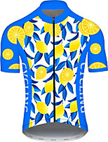 cheap -21Grams Men's Short Sleeve Cycling Jersey Blue+Yellow Fruit Lemon Bike Jersey Top Mountain Bike MTB Road Bike Cycling UV Resistant Breathable Quick Dry Sports Clothing Apparel / Stretchy / Race Fit