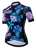 Недорогие -21Grams Жен. С короткими рукавами Велокофты Черный / синий Бабочка Цветочные ботанический Велоспорт Джерси Верхняя часть Горные велосипеды Шоссейные велосипеды / Эластичная / Быстровысыхающий