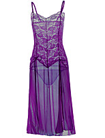 cheap -Women's Lace / Backless / Cut Out Suits Nightwear Solid Colored Light Blue Purple Black S M L