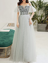 cheap -A-Line Sparkle Grey Engagement Formal Evening Dress Off Shoulder Short Sleeve Floor Length Tulle with Sequin 2020