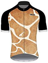 Недорогие -21Grams Муж. С короткими рукавами Велокофты Черный / оранжевый геометрический Животное Жираф Велоспорт Джерси Верхняя часть Горные велосипеды Шоссейные велосипеды / Эластичная / Быстровысыхающий