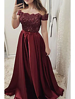 cheap -A-Line Cut Out Red Engagement Prom Dress Off Shoulder Short Sleeve Sweep / Brush Train Lace Satin with Pleats Lace Insert 2020